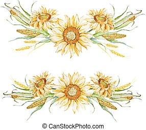 水彩画, 秋, 花の取り決め