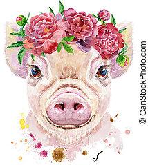 水彩画, 肖像画, ミニ, 豚