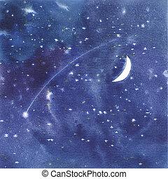 水彩画, 背景, 星が多い空