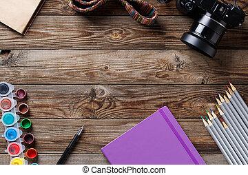 水彩画, 色, 鉛筆, そして, スケッチブック, 上に, 木製である, テーブル。, 平ら, 位置, 写真, ∥で∥,...