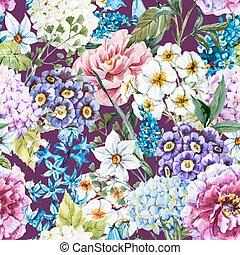 水彩画, 花のパターン