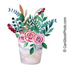 水彩画, 花束, の, 花, 中に, pot., 無作法, 花, セット