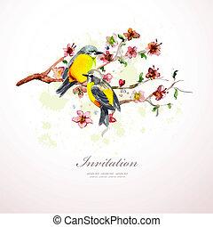 水彩画, 花, あなたの, design.