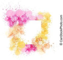 水彩画, 花, テンプレート