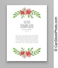 水彩画, 花, デザイン, 招待, 結婚式