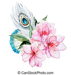 水彩画, 花