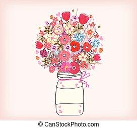 水彩画, 花, 絵, 束