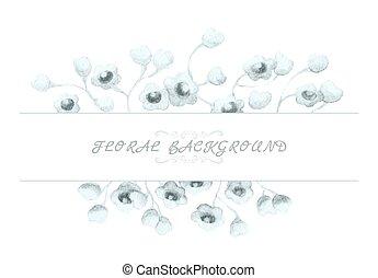 水彩画, 花, 背景