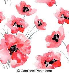 水彩画, 花, pattern., seamless