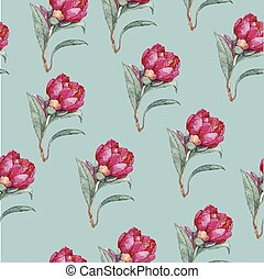 水彩画, 花, seamless, パターン