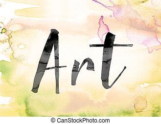 水彩画, 芸術, 単語, カラフルである, インク