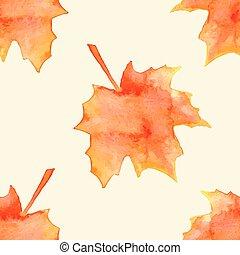 水彩画, 葉, かえで
