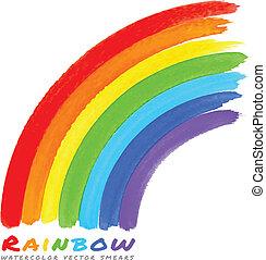 水彩画, 虹, ブラシ, smears