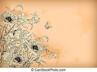 水彩画, 鉛筆, 花, 蝶, 図画