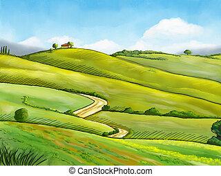 水彩画, 風景