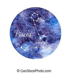 水彩画, 魚座, 星占いサイン