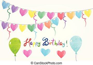 水彩画, birthday, 背景, 招待, カード, 幸せ