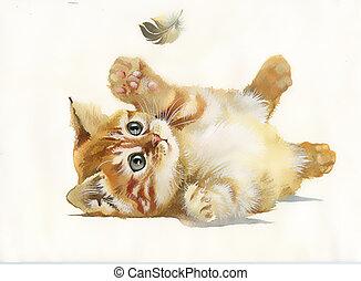 水彩画, collection:, 動物, ねこ