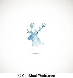 水彩画, head., 鹿, vector.