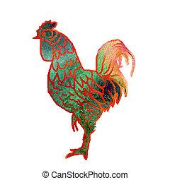 水彩画, rooster.