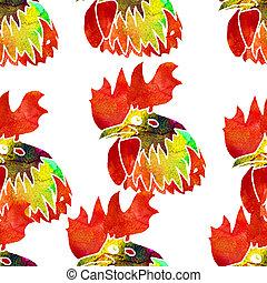水彩画, rooster., seamless, pattern.