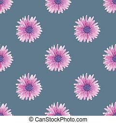 水彩画, seamless, 花のパターン