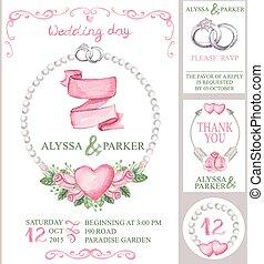 水彩画, set.pink, 結婚式, ばら, 招待