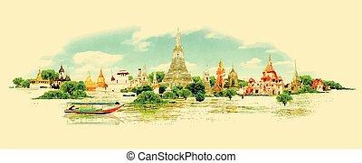 水彩畫, 曼谷, 全景, 矢量, 看法