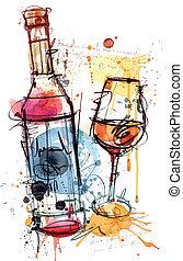水彩畫, 紅的酒