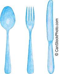 水彩, 勺, 刀, 以及, fork.