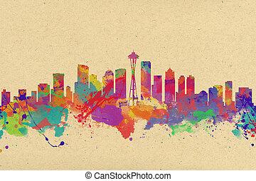 水彩, 團結, 藝術, 國家, 地平線, 印刷品, 西雅圖