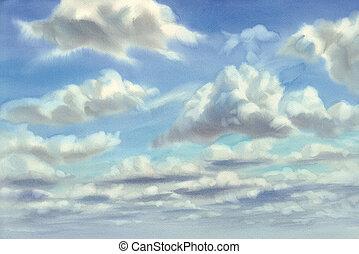 水彩, 夏天, 云霧, 背景, 天空