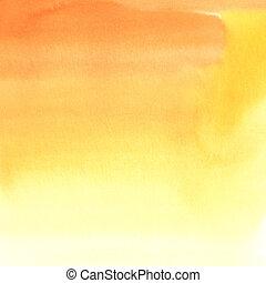水彩, 橙, 摘要, 背景