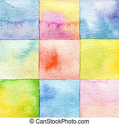 水彩, 繪, 摘要, 廣場, 背景