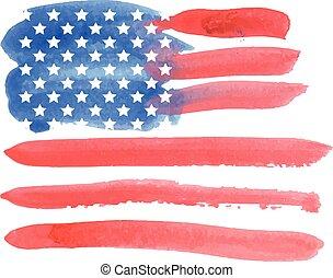 水彩, 美國人, flag., 矢量