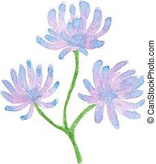 水彩, 花, 紫色