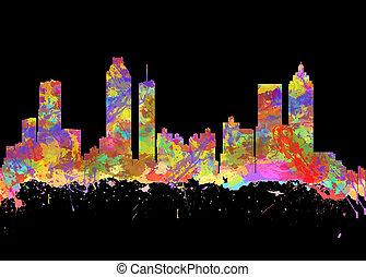 水彩, 藝術, 印刷品, ......的, the, 地平線, ......的, 亞特蘭大, 佐治亞, 美國