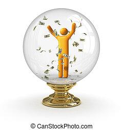 水晶球, -, 雨, ドル
