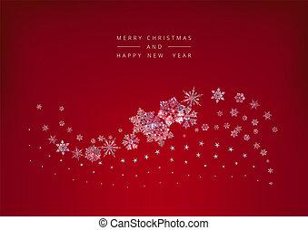 水晶, クリスマス, 背景, 雪片