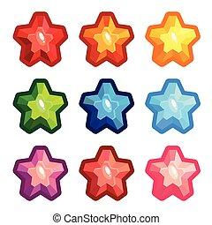 水晶, セット, 有色人種, 星