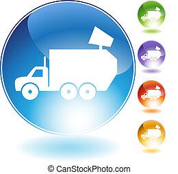 水晶, トラック, ごみ, アイコン