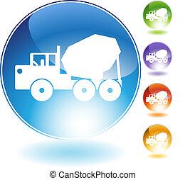 水晶, トラック, セメント, アイコン