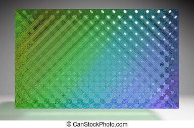 水晶, パターン, パネル, 緑, 色