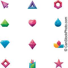 水晶, ベクトル, セット
