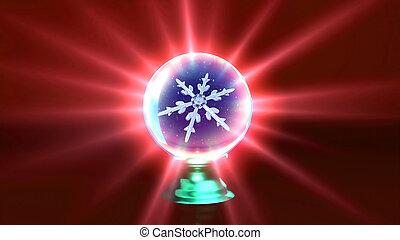 水晶, ボール, クリスマス, 赤, 雪片