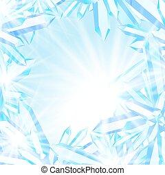 水晶, 光っていること, 氷
