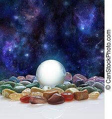 水晶, 宇宙, ボール, 治癒, 水晶