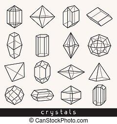 水晶, 幾何学的, セット, ミネラル, 宝石