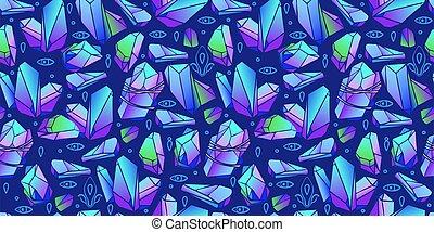 水晶, 抽象的, カラフルである, gems., 宝石, seamless, パターン, stones., vector.