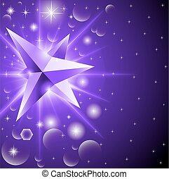 水晶, 抽象的, 背景, 白熱, 星